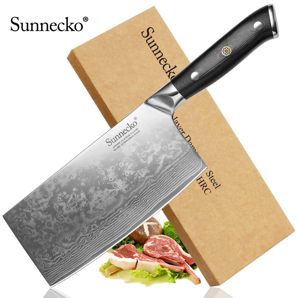 "Sunnecko 7 ""インチシェフの包丁包丁日本ダマスカス VG10 鋼の刃ナイフ切断シェフ調理ナイフ  グループ上の ホーム&ガーデン からの キッチンナイフ の中 1"