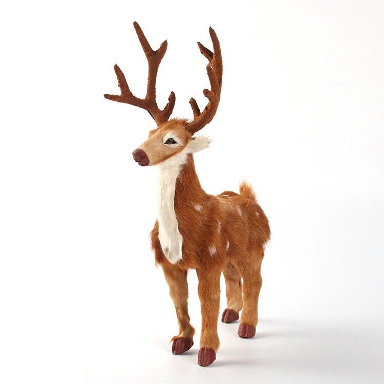 large 27x13x36cm simulation sika deer real fur deer toy hard model home decoration chirstmas gift h1204