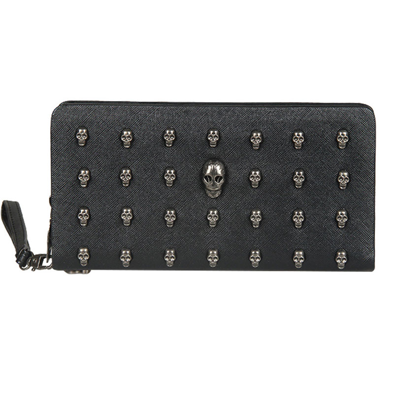 Women Purse PU Leather Portfel Damski Skull Wallet Personality Bag Rivets Purse Zipper Skellington Punk Wallet Designer Wallet