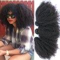 Монгольский Странный Вьющиеся Волосы Девственницы 8А Монгольский Afro Kinky Вьющиеся Weave Человеческих Волос 3 Связки Солнечный Queen Hair Products