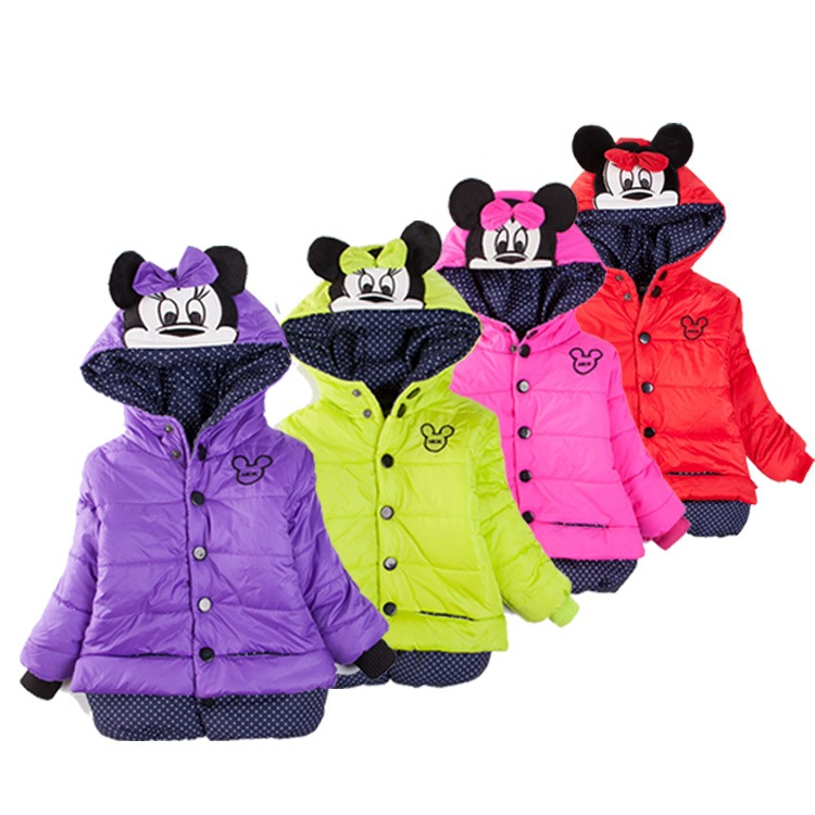 Girls Clothes Jacket Children Winter Lovely Keeping Warm Girls Coats Cotton Hooded Outwear Kids Clothing 6sets
