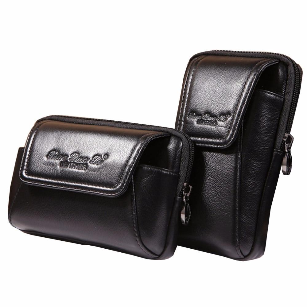 New Men Oil Wax Äkta Läder Vintage Travel Cell Mobiltelefon Case - Bälten väskor - Foto 3