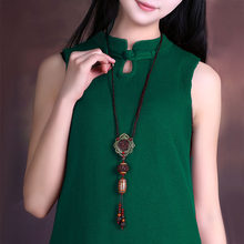 Retro Sweater chain Long section necklace Chest Pendant Tianzhu Pendant Jewelry woman folk-custom(China)