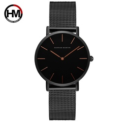 Hannah martin moda quartzo womne relógios rosa preto à prova dfemme água montre femme 2018 pulseira de aço senhoras relógio feminino