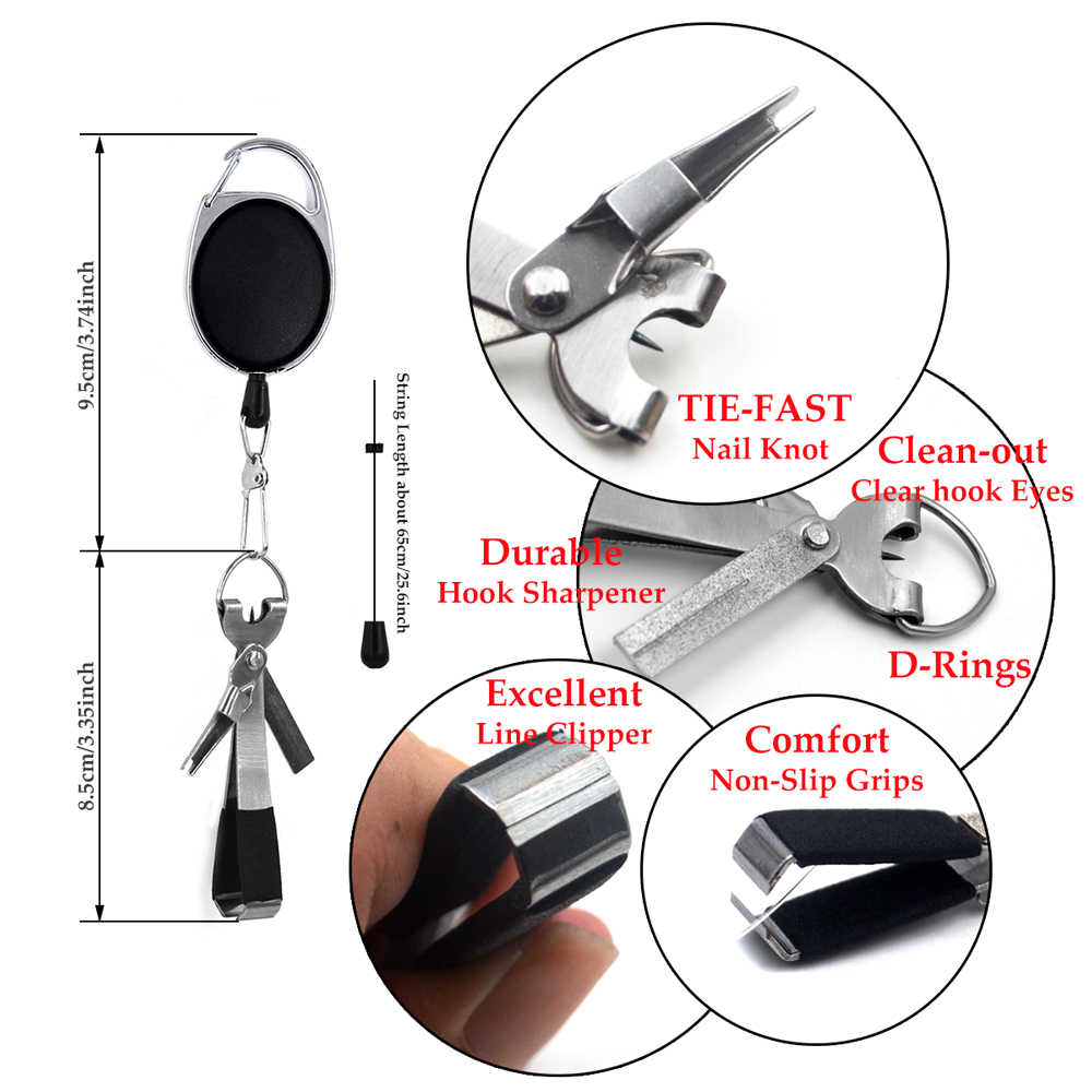 Fly Fishing Knot Tying Tools 4 in 1 Line Cutter Nippers Snips Retractors Clipper