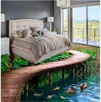 Modern Floor painting Bridges 3 d bathroom floor Mural 3d PVC Wallpaper Self adhesive Floor Wallpaper 3d