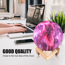 LED Night Light 16 Colorful 3D Print Moon Lamp  With Touch And Remote Control Swith USB Charging Galaxy Lamp Creative Gifts