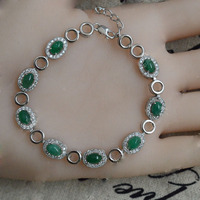 2017 New Qi Xuan_Fashion Jewelry_Colombia Green Stone Fashion Bracelets_S925 Solid Silver Green Bracelet_Factory Directly Sales