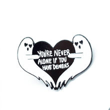 1 PC Cartoon Badges Letter YOU'RE NEVER ALONE IF YOU HAVE DEMONS Brooches For Women Ghost Heart Pins Jewelry Enamel Pin Accessor(China)