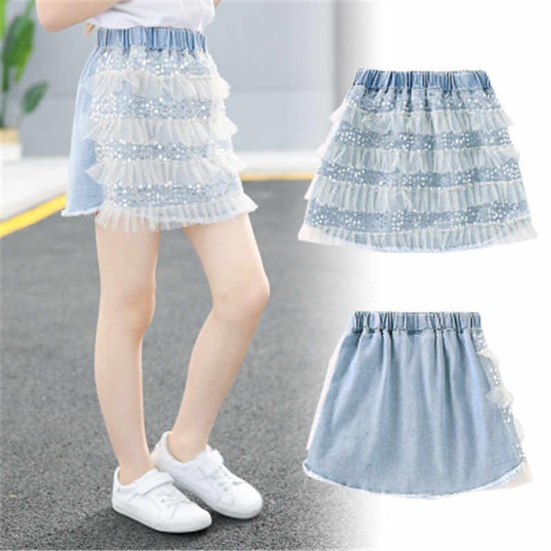 Linda falda de tul de lentejuelas para chica grande Ruffle verano princesa ropa para bebé niños ropa moda niños niñas Jeans faldas