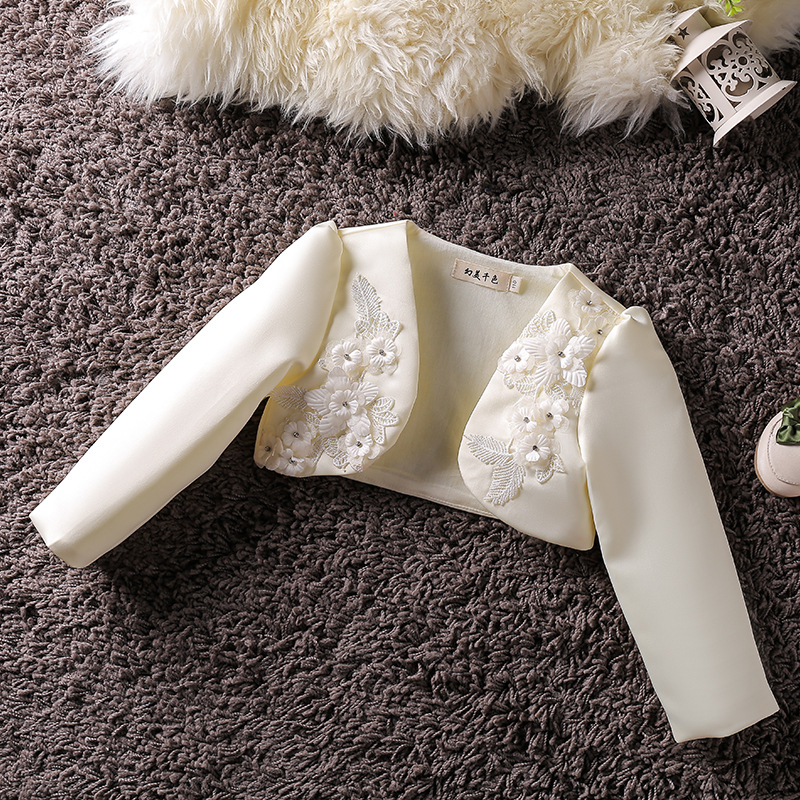 Baby Girls Bolero Formal Long Sleeves 3D Flower Wedding Party Coat Fashion Baby Girl Clothes Girls Baby Jacket