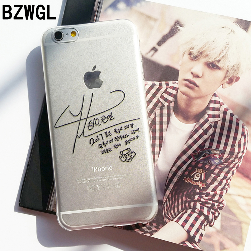 BZWGL Brand EXO Chanyeol Signature Phone Case For IPhone 5s 6 7 8 Plus Tpu Transparent Soft