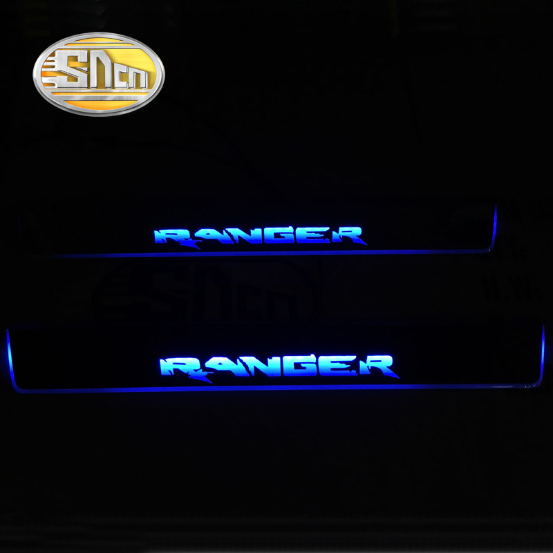 Image 2 - SNCN 4PCS Acrylic Moving LED Welcome Pedal Car Scuff Plate Pedal Door Sill Pathway Light For Ford Ranger 2015 2016 2017 2018-in Car Stickers from Automobiles & Motorcycles