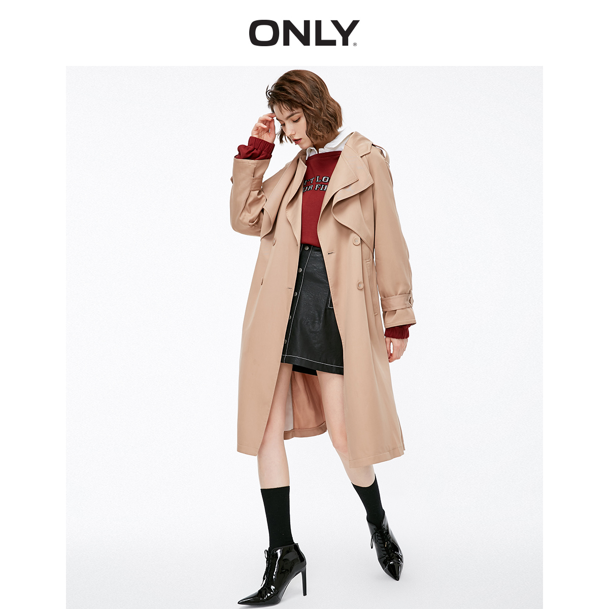ONLY Women's Gathered Double-breasted Long Wind Coat   118336579
