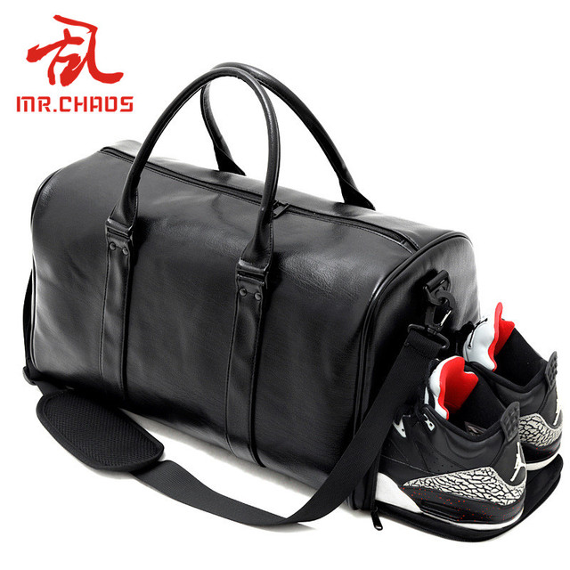 Black Pu Leather Sports Gym Bag Big for Women Fitness Outdoor Men s  Gymnastic Bags for Shoes 0e8371938b26c
