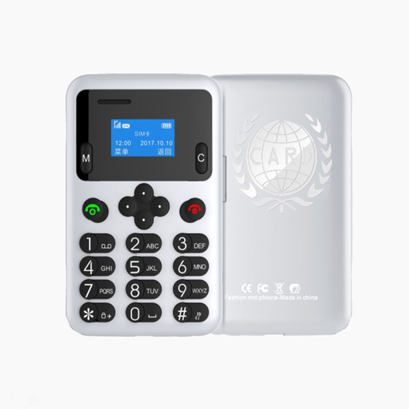 Ultra Thin AEKU A6 MINI Card Mobile Phone 0 96Inch Small Screen Pocket Mini Cellphone Dual