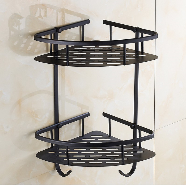 vintage style black finish bathroom accessories shower shampoocosmetics basket holderbrass material antique design with - Bathroom Accessories Vintage Look