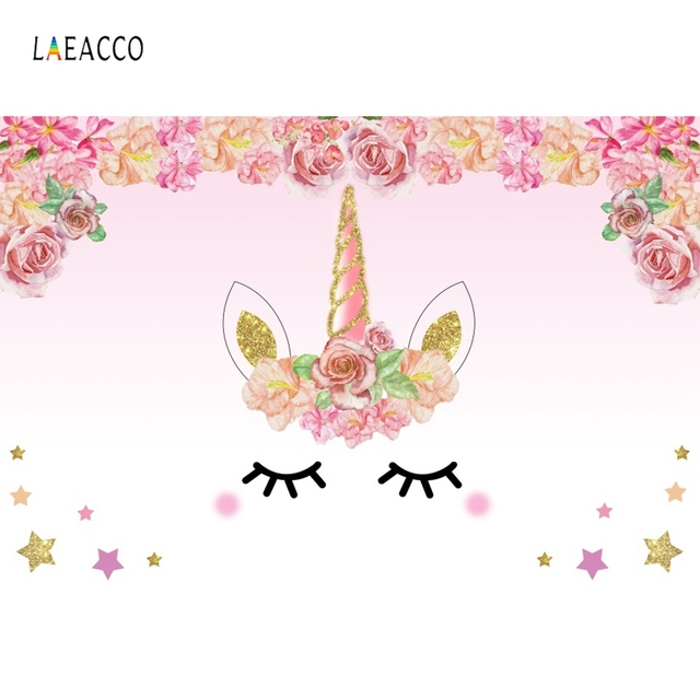 Laeacco Unicorn Birthday Party Flower Golden Star Family Party Poster Baby Photography Backdrops Photo Backgrounds Photo Studio