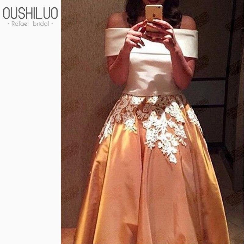 Belle deux pièces gonflé une ligne robes de bal avec Appliques florales blanc Satin Top jupe dorée hors de l'épaule robe de soirée