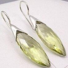 Elegante plata cuarzo lemon largo gema pendientes directo de fábrica 4.4 cm