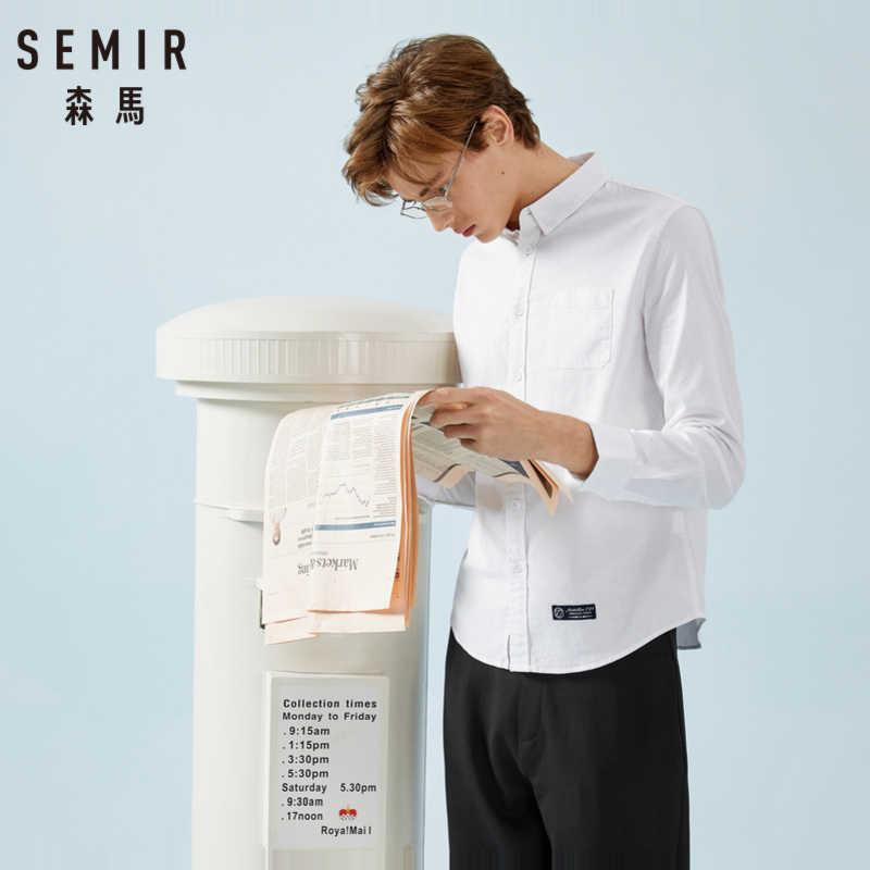 SEMIR Мужская классическая рубашка оксфорд с отложным воротником мужская рубашка с конической талией и нагрудным карманом Мужская модная рубашка Топ