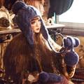 Симпатичные Наушники Hat & Перчатки Женщин Зима Теплая Шапочка 100% Ручной Вязать Шапки с Большой Пом