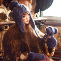Cute Earmuff Hat & Gloves Women Winter Warm Beanie 100% Handmade Knit Caps with Big Pom