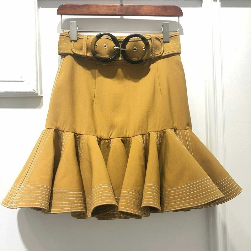 [LIVIVIO] Elegant Solid Women Skirt High Waist Ruffles Bodycon Slim Mini Skirts Female Fashion Clothes 2019 Summer New
