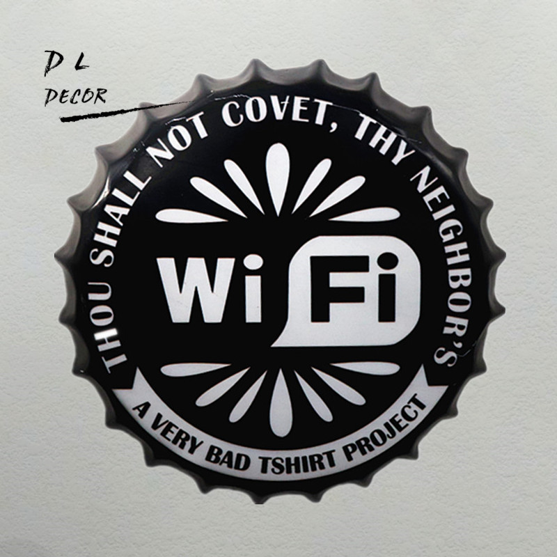 DL Christmas gift !!Retro FREE WIFI Bottle cap poster office hanging Signs House Cafe wall art decor