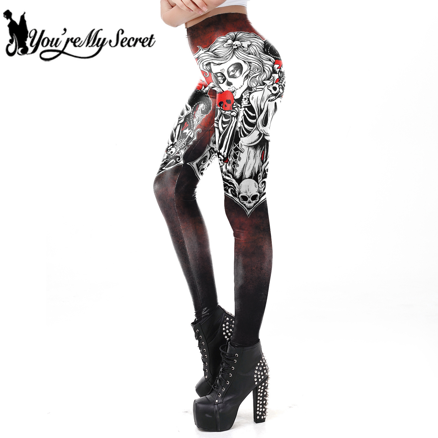 [You're My Secret] 2018 Winter The Dead Girl Super Fantastic Women   Legging   Sugar Skull Fitness Workout Gothic Style Ankle Pants