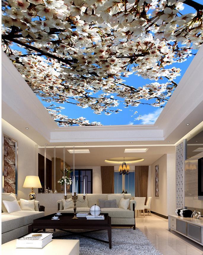 3d Room Wallpaper Landscape Ceilings Beautiful Flowers Sky