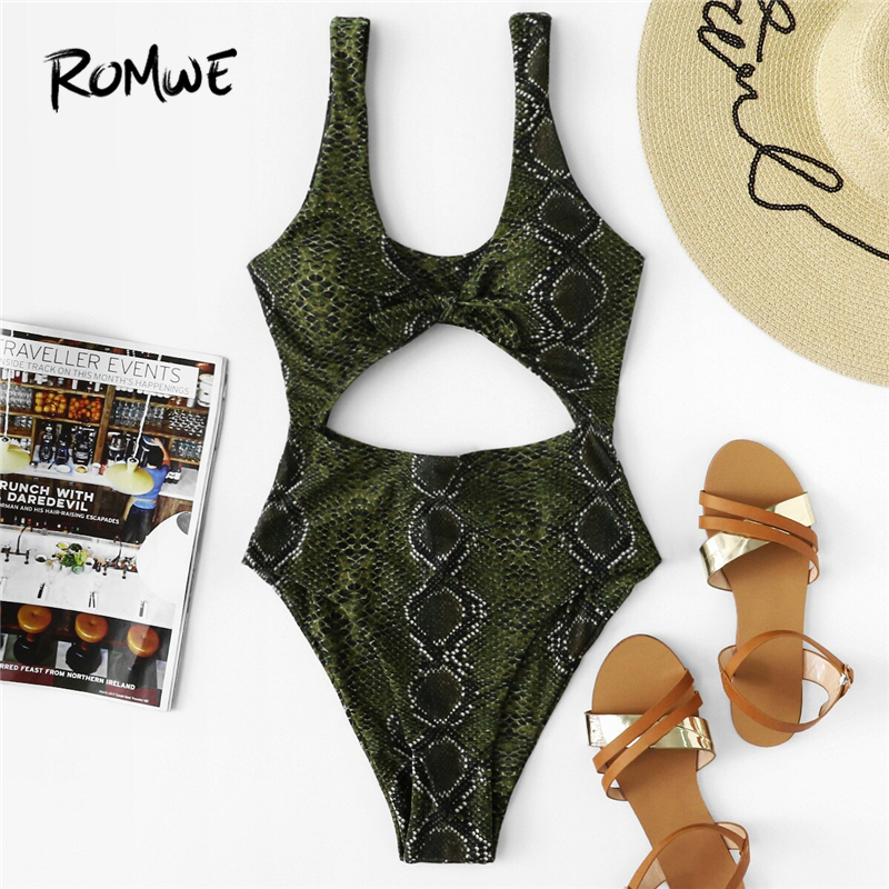Romwe One-Piece Suits Swimwear Monokinis High-Cut Sport Snake Summer Green Print Cut-Out