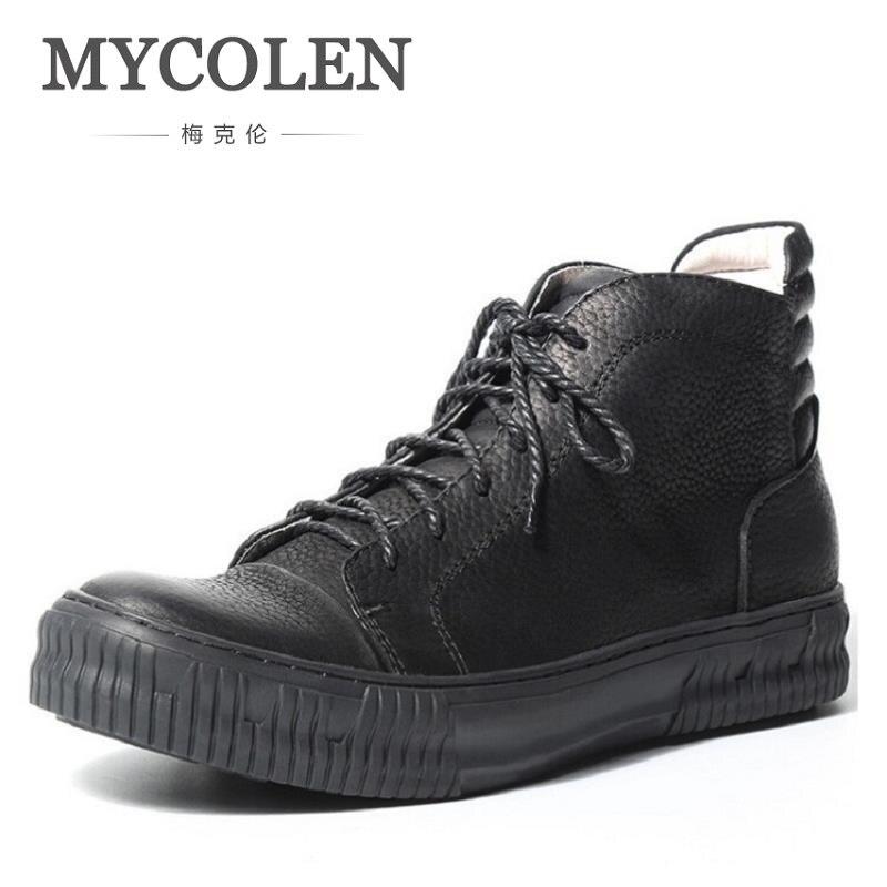 MYCOLEN Genuine Leather Top Quality Men Boots Cow Leather Winter Shoes Retro Trend Boots Men Shoes Coturnos Masculino Militar