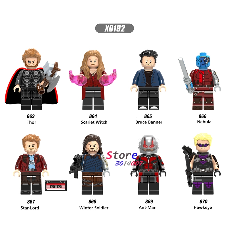 50pcs Infinity War Thor Ant Man Bruce Banner Scarlet Witch Nebula Hawkeye building block for children