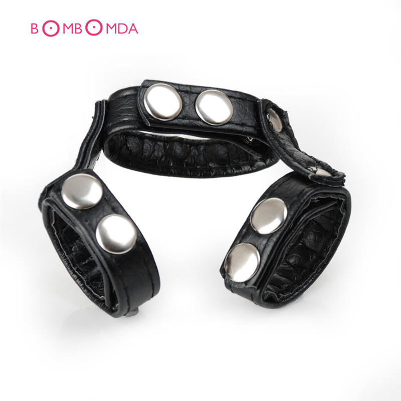 Buy Penis enlargement ring Leather Penis Sleeve Adjustable ball stretcher Cock supporter Sex toys men cock ring