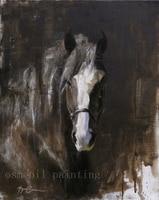 Handgemaakte Moderne Abstracte Paard Portret Schilderen Zwarte Achtergrond Pure handgeschilderde Unieke Gift Equire Olieverfschilderij