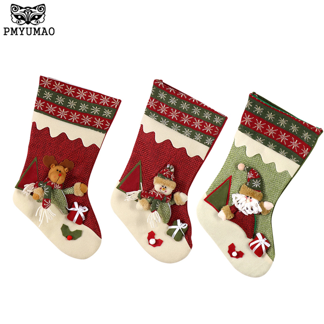pmyumao christmas socks gift bag santa claus snowman elk style xmas decoration big christmas stocking for - Big Christmas Stockings