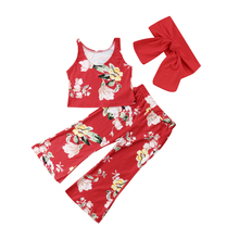 newborn baby toddler sets casual outfit clothes o neck long sleeved tops pants hats 3pcs set baby clothes for boys and girls 3Pcs Newborn Kid Baby Girls Flower Sleeveless Tops Long Pants Headband Outfit Loose Clothes Set 2019