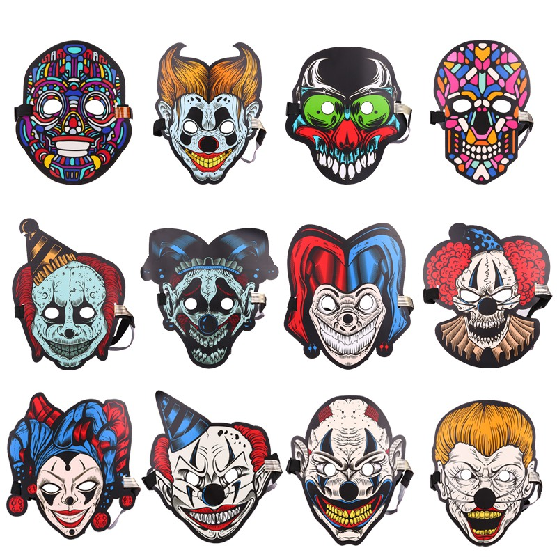 Halloween máscara de luz LED sonido dinámico Control luminoso Flash Cosplay máscaras Carnaval fiesta suministros Decoración