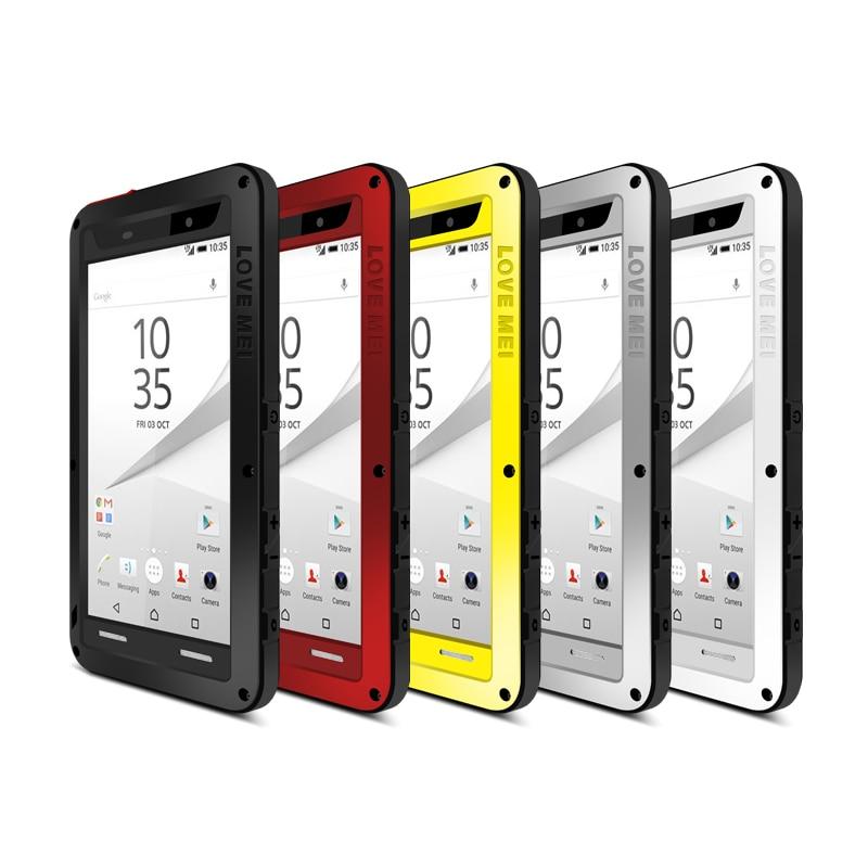 imágenes para Para Xperia Sony Z5/Premium/Compacto Casos prueba de Choques Impermeable de Lujo de Marca Para Sony Xperia Casos Cubierta de Metal Con gorilla Glass