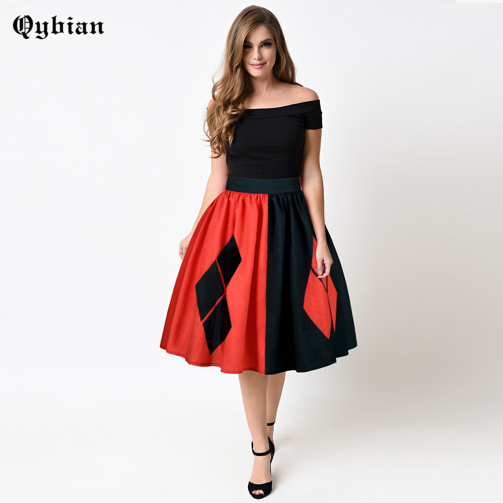 Qybian Chinese Style Women Skirts Red ank Black lattice Printed Ball Gown  High Elastic and Quality Knee length Skirts for ladies-in Skirts from  Women s ... 9a49cab9515d