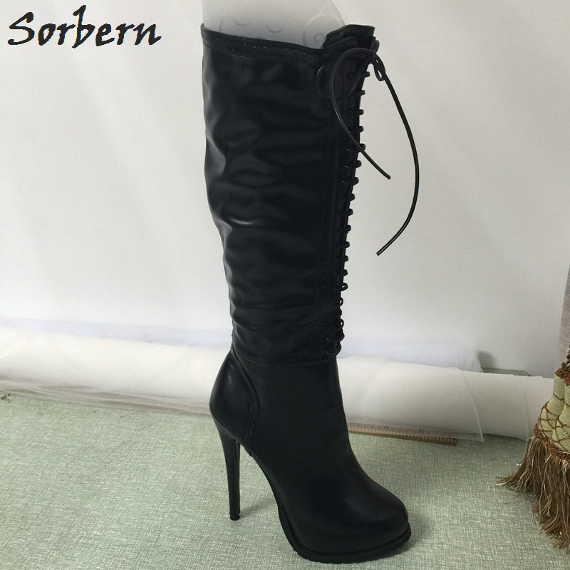 Sorbern Black Knee High Boots Platform Shoes Women Winter High Heels Pointed Toe Side Zipper Custom Color Large Size 33-46