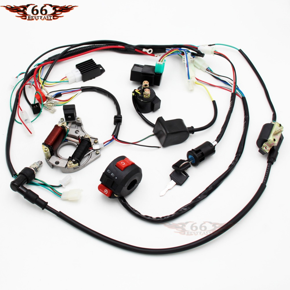 Wiring Harness Kit CDI Coil Magneto Rectifier Light 50-125cc ATV QUAD Motorcycle