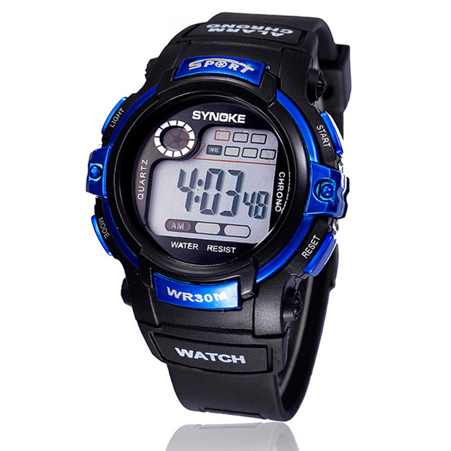 SYNOKE Young Boy LED Quartz Watches Childen Student Digital Alarm Date Waterproo