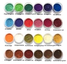 10ミリリットル瓶24色雲母粉顔料〜天然真珠光沢マイカ粉末〜メタリック染料のための化粧品ポリッシュ石鹸作る