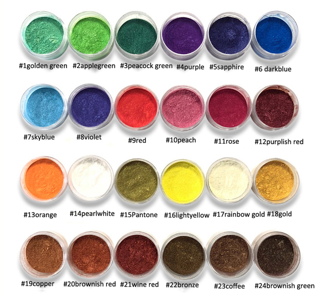 10Ml 24สีMica Pigments ~ ธรรมชาติPearlescent Micaผง ~ Metallic Dyeสำหรับเล็บเครื่องสำอางค์ภาษาโปลิชคำสบู่