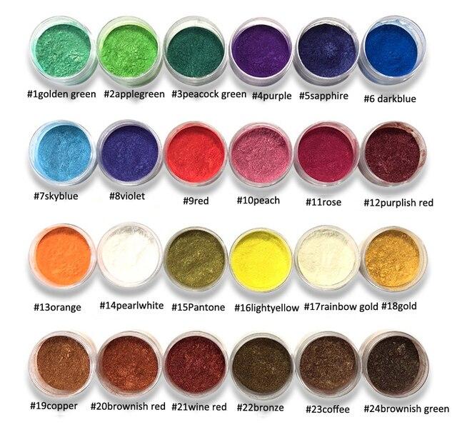 10Ml Jar 24 Kleuren Mica Poeder Pigmenten ~ Natuurlijke Parelmoer Mica Poeders ~ Metallic Dye Voor Nail Cosmetische Polish zeep Maken