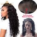 Предварительно Сорвал 360 Кружева Фронтальная С Пучками Малайзии Глубокая Волна Вьющиеся Волосы С 360 Фронтальная Закрытие, Дева Человеческих Волос с Фронтальной