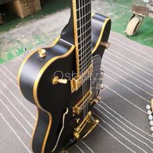 Высокое качество QShelly пользовательские черные TL F отверстия ясень полый корпус Золото Связывание деревянный мост электрогитара Музыкальные инструменты магазин