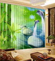 3D Decor Curtains Dolphins Jumping , in bamboo and blue sea, for Living Bed Room Decor Curtains Drapes